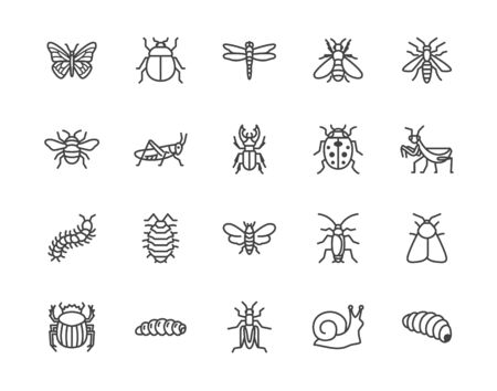 Insect flat line icons set. Butterfly, bug, dung beetle, grasshopper, cockroach, scarab, bee, caterpillar vector illustrations. Outline signs for insects pest. Pixel perfect 64x64. Editable Strokes. Иллюстрация