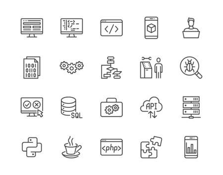 Software development flat line icons set. Programming language, application, api, computer program develop vector illustrations. Outline signs for website design. Pixel perfect 64x64. Editable Stroke. Vektorové ilustrace