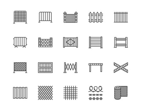 Fence flat line icons set. Wood fencing, metal profiled sheet, wire mesh, crowd control barricades vector illustrations. Outline signs for protection store. Pixel perfect 64x64. Editable Strokes.