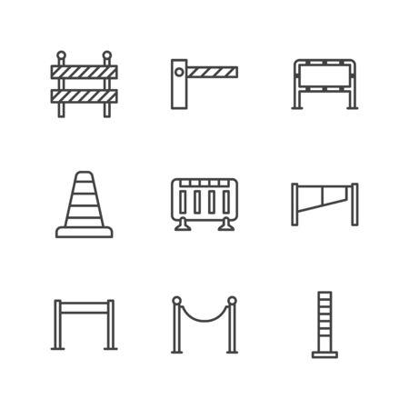 Ensemble d'icônes de ligne plate de barrage routier. Barrière, barricades de contrôle des foules, illustrations vectorielles de poteaux de corde. Décrire les panneaux pour la sécurité des piétons, les travaux routiers. Pixel parfait 64x64. Coups modifiables.