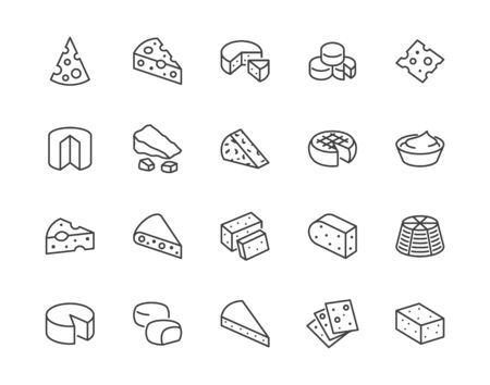 Cheese flat line icons set. Parmesan, mozzarella, yogurt, dutch, ricotta, butter, blue chees piece vector illustrations. Outline signs for dairy product store. Pixel perfect 64x64. Editable Strokes.