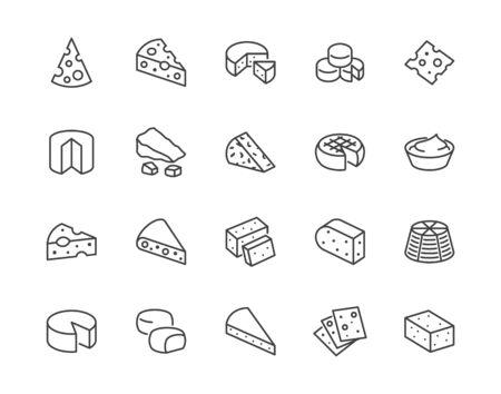 Ensemble d'icônes de ligne plate de fromage. Parmesan, mozzarella, yaourt, hollandais, ricotta, beurre, pièces de fromage bleu illustrations vectorielles. Décrire les signes pour le magasin de produits laitiers. Pixel parfait 64x64. Coups modifiables. Vecteurs