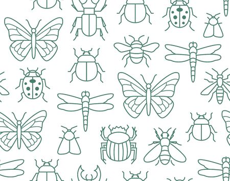 Insects seamless pattern with flat line icons. Background - butterfly, bug, dung beetle, scarab, bee, ladybug vector illustrations. Outline signs of field insect. Illusztráció