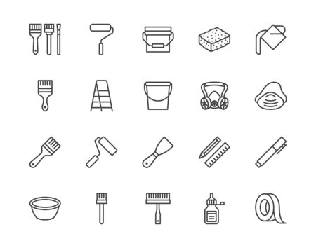 Painter tools flat line icons set Home renovating equipment roller paintbrush ladder masking tape, respirator vector illustrations. Outline signs interior design. Pixel perfect 64x64 Editable Strokes. Illusztráció