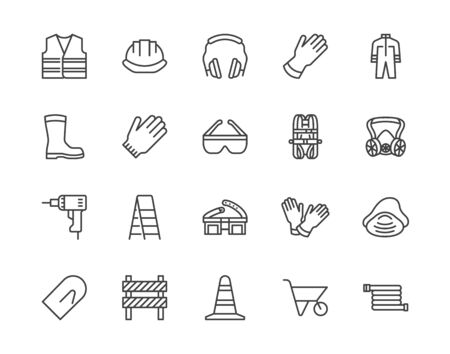 Safety equipment, required PPE flat line icons set. Protective gloves builder helmet respirator, harness vector illustrations. Outline signs personal protection. Pixel perfect 64x64. Editable Strokes. Illusztráció