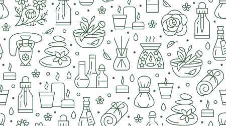 Modèle sans couture d'aromathérapie avec des icônes vectorielles en ligne plate. Fond de vecteur d'huile essentielle - diffuseur, bougies aromatiques, saveurs d'herbes, massage aux pierres, lotion de spa. Toile de fond pour la clinique de physiothérapie. Vecteurs