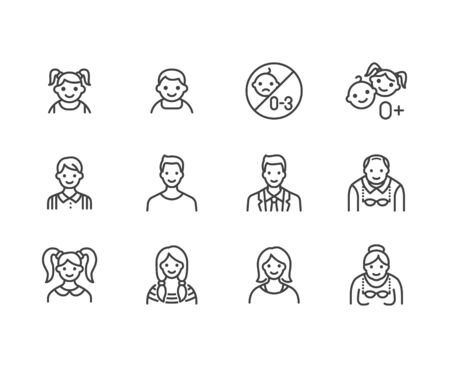 People age flat line icons set. Growth stage - baby boy, teenage girl, young woman, old man vector illustrations. Outline signs for family avatar, toy label. Pixel perfect 64x64. Editable Strokes. Illusztráció