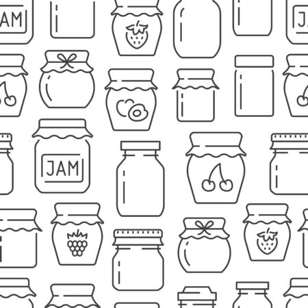 Jam seamless pattern with vector thin line icons. Glass jars with honey, jelly and other canned organic food. Homemade sweet preserves background.