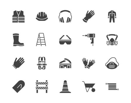 Safety equipment, required PPE flat silhouette icons set. Protective gloves builder helmet respirator, harness vector illustrations. Glyph signs personal protection. Pixel perfect pictograms. Illusztráció