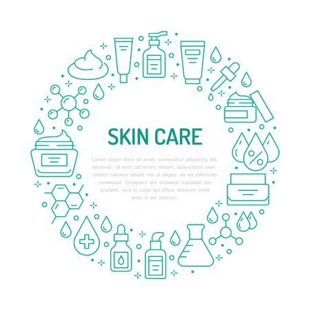 Skin care circle poster with flat line icons. Hyaluronic acid drop, serum, anti ageing compound retinol, moisturizing cream tube package, cosmetology treatment Beauty concept for dermatology brochure.