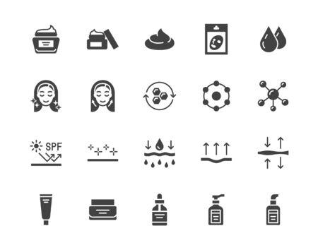Ensemble d'icônes de glyphe plat de soins de la peau. Crème hydratante, masque facial anti-âge, illustrations vectorielles de gel blanchissant spf. Signes pour l'emballage du produit cosmétique. Pixel de pictogramme silhouette parfait 64x64.