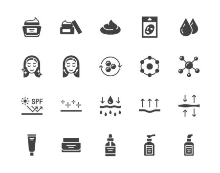 Skin care flat glyph icons set. Moisturizing cream, anti age lifting face mask, spf whitening gel vector illustrations. Signs for cosmetic product package. Silhouette pictogram pixel perfect 64x64. Illusztráció