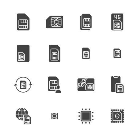 Sim card flat glyph icons set. Micro, nano simcard, new eSim technology, mobile phone chip vector illustrations. Black signs for electronic store. Silhouette pictogram pixel perfect 64x64.