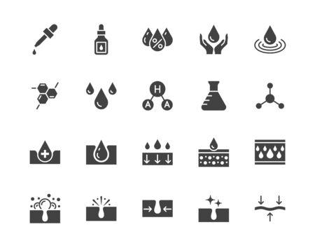 Ensemble d'icônes de glyphe plat de soins de la peau. Goutte d'acide hyaluronique, sérum, rétinol composé anti-âge, illustrations vectorielles pour resserrer les pores. Signe l'étiquette du produit cosmétique. Pixel de pictogramme silhouette parfait 64x64.