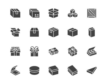 Box flat glyph icon set. Carton, wood boxes, product package, gift vector illustrations. Simple black signs for delivery service. Silhouette pictogram pixel perfect 64x64.