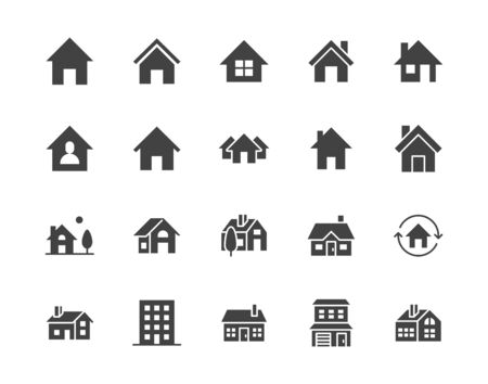 Houses flat glyph icons set. Home page button, residential building, country cottage, apartment vector illustrations. Simple black signs for real estate. Silhouette pictogram pixel perfect 64x64.
