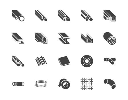 Stainless steel flat glyph icons set. Metal sheet, coil, strip, pipe, armature vector illustrations. Black signs metallurgy products, construction industry. Silhouette pictogram pixel perfect 64x64.