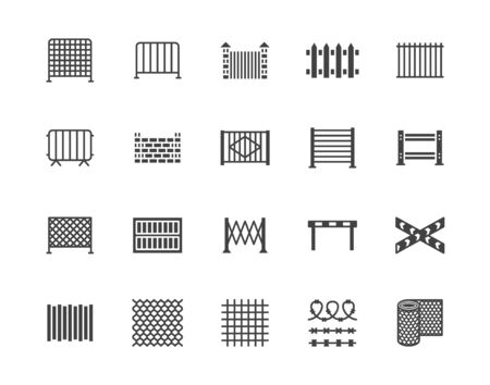 Ensemble d'icônes de glyphe plat de clôture. Clôtures en bois, tôle profilée en métal, treillis métallique, illustrations vectorielles de barricades de contrôle des foules. Signes noirs pour le magasin de protection. Pixel de pictogramme silhouette parfait 64x64.