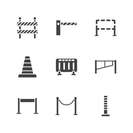Conjunto de iconos de glifo plano de barricada. Barrera, barricadas de control de multitudes, ilustraciones de vectores de puntales de cuerda. Señales negras para seguridad peatonal, obras viales. Pixel de pictograma de silueta perfecto 64 x 64.