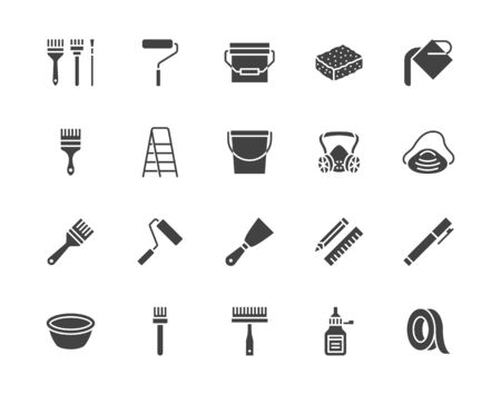 Painter tools flat glyph icons set Home renovating equipment roller paintbrush ladder masking tape, respirator vector illustrations. Signs interior design. Silhouette pictogram pixel perfect 64x64. Ilustracja