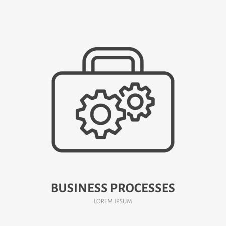 Gear flat line icon. Vector thin sign of cogwheel and suitcase, development concept, business process logo. Strategy management outline illustration.