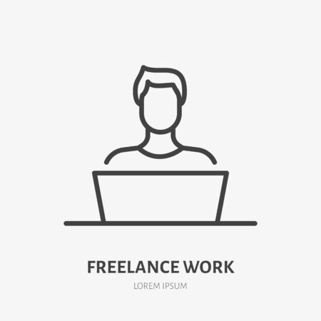 Man with laptop flat line icon. Vector thin sign of freelance work at home, designer logo. Young person in workplace outline illustration.