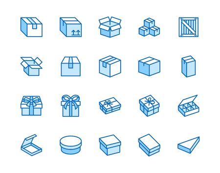 Box flat line icon set. Carton, wood boxes, product package, gift vector illustrations. Simple outline signs for delivery service. Pixel perfect 64x64. Editable Strokes.