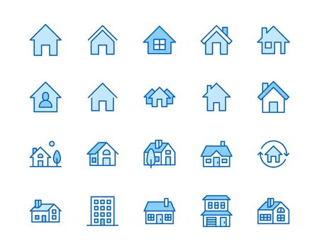 Houses flat line icons set. Home page button, residential building, country cottage, apartment vector illustrations. Outline simple signs for real estate. Pixel perfect 64x64. Editable Strokes. Illusztráció
