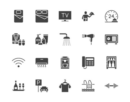 Hotel room facilities flat glyph icons set. Double bed, reception, room service, bathrobe, slippers, safe, minibar vector illustrations. Black sign for motel. Silhouette pictogram pixel perfect 64x64.