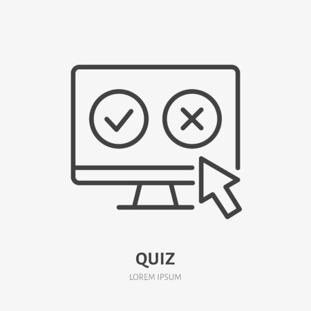 Quiz flat line icon. Vector thin sign of online test, vote, customer experience. Questionnaire, yes no click outline illustration. Illusztráció
