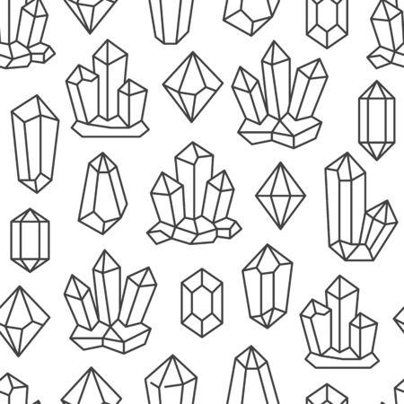 Reticolo senza giunte di cristallo con le icone della pietra preziosa di linea. Minerale geometrico su sfondo bianco con quarzo di pietra poligonale nero, diamante per la progettazione di poster di gioielli magici.