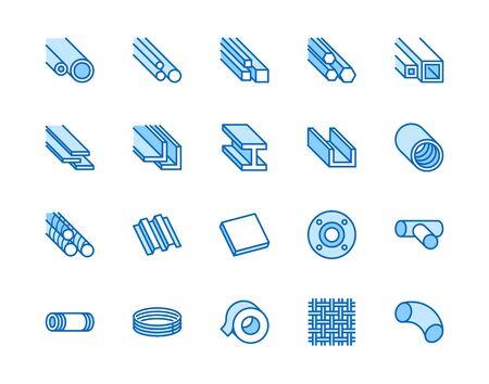 Flache Linie Symbole aus Edelstahl eingestellt. Metallblech, Spule, Streifen, Rohr, Ankervektorillustrationen. Umrissschilder für Metallurgieprodukte, Bauindustrie. Pixelperfekte 64x64. Bearbeitbare Striche.