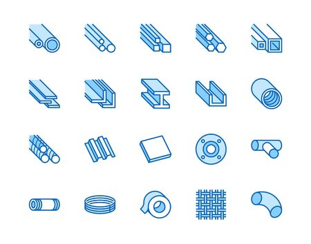 Stainless steel flat line icons set. Metal sheet, coil, strip, pipe, armature vector illustrations. Outline signs for metallurgy products, construction industry. Pixel perfect 64x64. Editable Strokes. Ilustrace