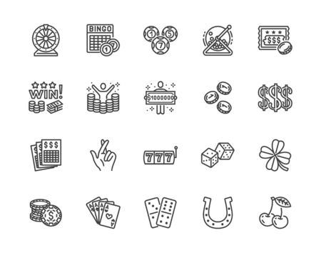 Lottery winner flat line icons set. Win money gambling, casino poker, bingo, wheel of fortune, scratch card vector illustrations. Outline signs for ticket store. Pixel perfect 64x64. Editable Strokes.
