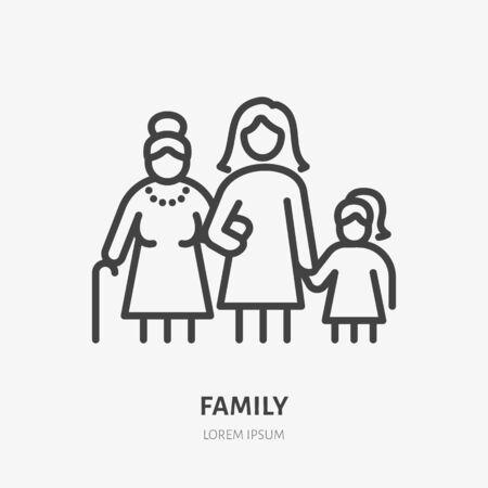 Icône de ligne familiale, pictogramme vectoriel de trois générations féminines - grand-mère, mère, fille. Jeune fille avec illustration de parents plus âgés, signe de personnes.
