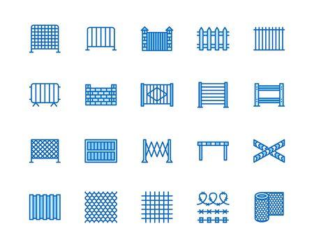 Ensemble d'icônes de ligne plate de clôture. Clôtures en bois, tôle profilée en métal, treillis métallique, illustrations vectorielles de barricades de contrôle des foules. Décrire les signes pour le magasin de protection. Pixel parfait 64x64. Coups modifiables.