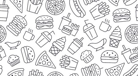 Fast food seamless pattern with vector line icons of hamburger, pizza, hot dog, beverage, cheeseburger. Restaurant menu background, tasty unhealthy lunch.