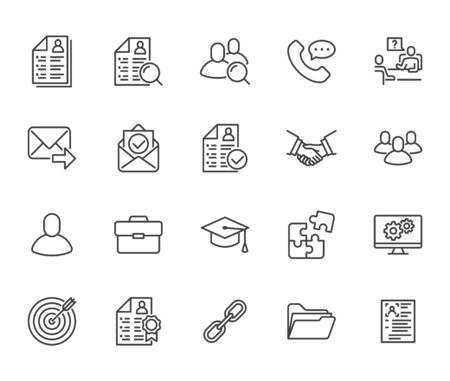 Resume flat line icons set. Hr human resources, job application, interview employee profile, teamwork, work experience vector illustrations Portfolio outline signs Pixel perfect 64x64 Editable Stroke.