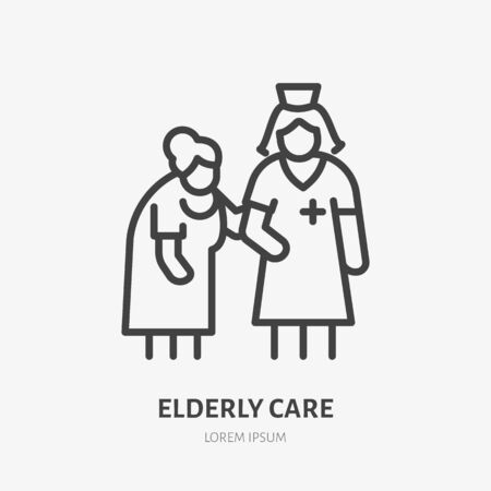 Doctor with old patient flat line icon. Nurse helping grandmother walk vector illustration. Thin sign of elderly care hospital.