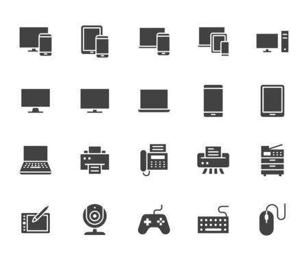 Devices flat glyph icons set. Pc, laptop, computer, smartphone, desktop, office copy machine vector illustrations. Black minimal signs for electronic store. Silhouette pictogram pixel perfect 64x64. Stock Illustratie