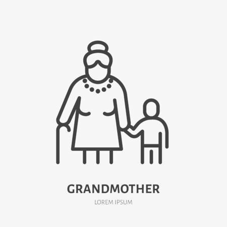 Family line icon, vector pictogram of grandmother with grandson. Young boy with elderly relatives, guardian illustration, people sign.