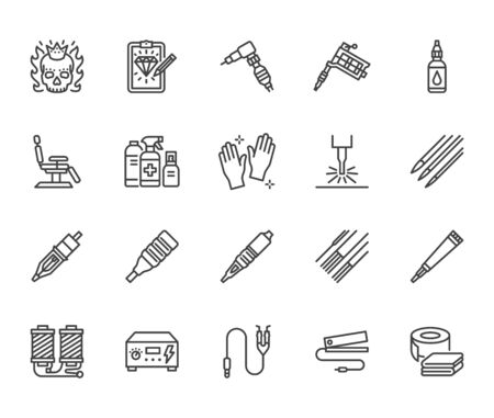Tattoo, piercing equipment flat line icons set. Tattoo machine, needle, paint, sketch, skull, laser removal vector illustrations. Outline signs for studio. Pixel perfect 64x64. Editable Strokes.