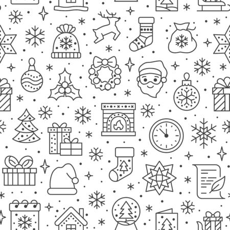 Christmas, new year seamless pattern, line background, winter holiday illustration. Vector icons of pine tree, gift, letter to santa, presents, snow. Celebration xmas party black white ornament. Illusztráció