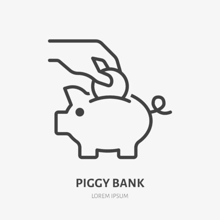 Piggy bank line icon, vector pictogram of hand putting coin into toy piggybank. Save money concept, economy illustration, financial account sign.