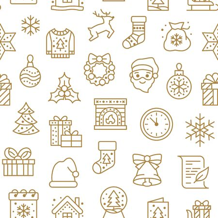 Christmas, new year seamless pattern, line background, winter holiday illustration. Vector icons of pine tree, gift, letter to santa, presents, snow. Celebration xmas party gold white ornament.