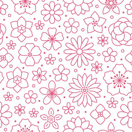 Floral seamless pattern, flower background. Outline flowers - line chamomile, jasmine, daisy. Pink white color simple summer plants.
