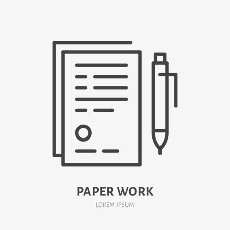 Document with pen flat line icon. Sign paper vector illustration. Thin sign of legal contract, agreement, paperwork pictogram. Zdjęcie Seryjne - 134849256