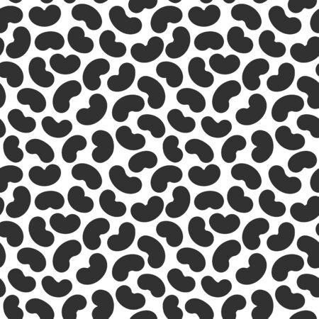 Seamless pattern with abstract geometric bean texture, black on white background. Soy beans modern memphis simple wallpaper, monochrome graphic element. Vektoros illusztráció