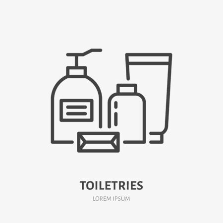 Toiletries, cosmetic flat line icon. Spa hotel service vector illustration. Thin sign of soap bottle, shampoo, lotion, beauty skin care pictogram.