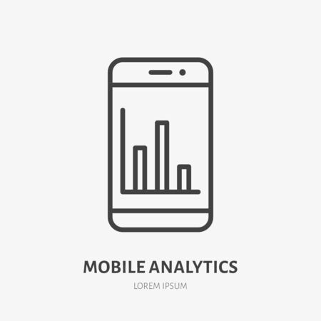 Mobile phone analytics flat line icon. Data analysis vector illustration. Thin sign of business diagram on smartphone screen.